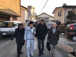 左から中村教授、上山市齋藤技師、小杉准教授、周藤教授
